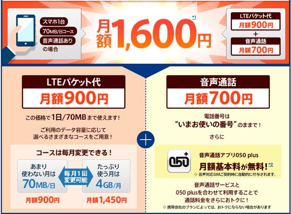「OCN モバイル ONE」月額1,600円〜音声通話にも対応