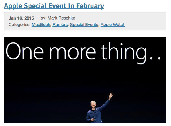 【Apple】2月に「Apple Watch」や「MacBook Air 12インチ」を発表するスペシャルイベントを開催か?