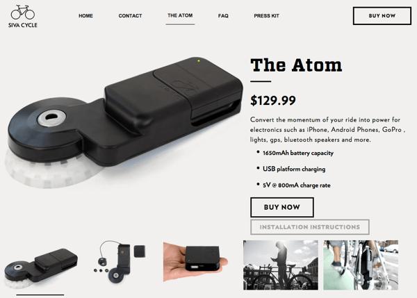 自転車に取り付けるUSB充電器「Atom」