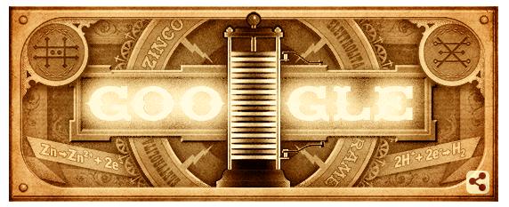 Googleロゴ「アレッサンドロ ボルタ」に