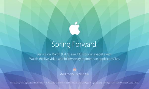 Apple、3月9日にスペシャルイベント開催 → Apple Watchを発表か?