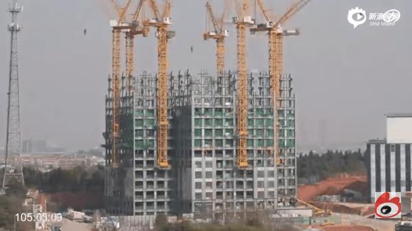 【動画あり】57階建てのビルをわずか19日間で完成させる動画