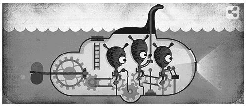 Googleロゴ「ネスコの怪獣 ネッシー撮影 81周年」に