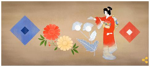 Googleロゴ「上村松園」に
