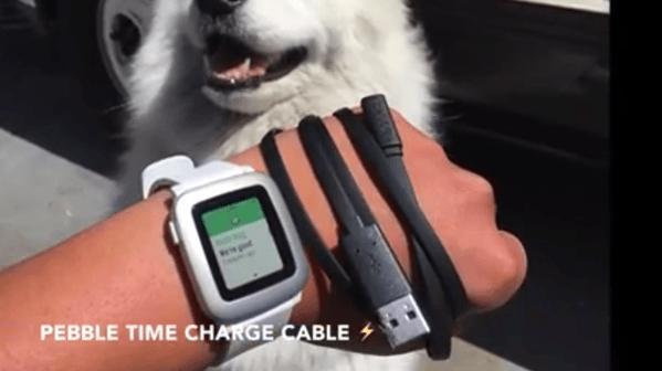【Pebble Time】本体とは磁石でくっつく充電ケーブルの使い方が分かる動画