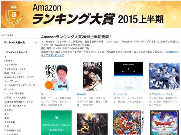 「Amazonランキング大賞2015上半期」発表!気になるカテゴリ別の1位をチェックし腕時計カテゴリに驚く