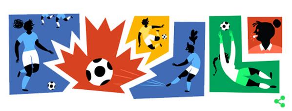 Googleロゴ「女子サッカー」に