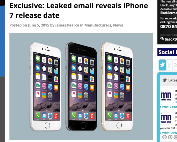 「iPhone 6s」2015年9月25日発売か?ボーダフォンの社内メールが流出