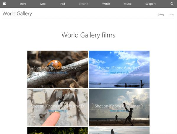 「World Gallery films」iPhone 6で撮影した動画のギャラリーをAppleが開設