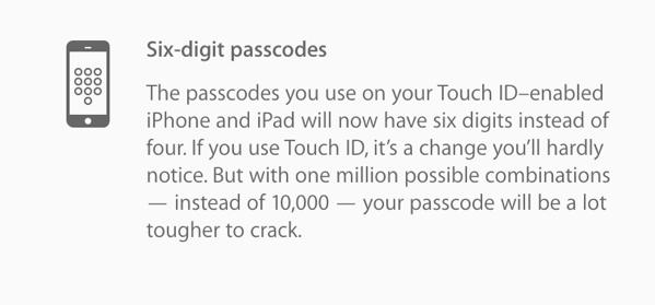 【iOS 9】Touch ID搭載のiPhone/iPadはパスコードが4桁から6桁に