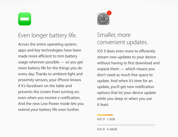 【iOS 9】ソフトウェアアップデートをする際に容量が足りないとアプリを一時的に削除する機能が搭載か