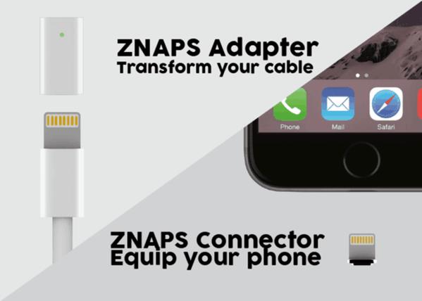 「ZNAPS」マグネットでカチャリと接続して充電できるiPhone用充電アダプター(MicroUSBあり)