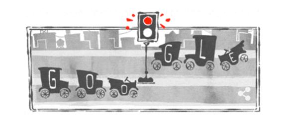 Googleロゴ「電気式信号機」に