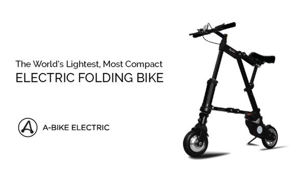 これが究極!?重量12kgで25km走行が可能な電動折りたたみ自転車「A-Bike Electric」Kickstarter