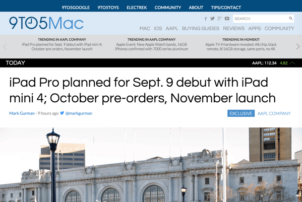 Apple、9月9日のスペシャルイベントでは「iPad Pro」「iPad mini 4」も発表か?