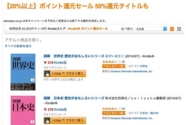 【Kindle】約63,000冊が対象!20%以上のポイント還元セールを実施中