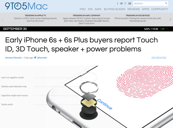 【iPhone 6s/6s Plus】Touch ID、3D Touch、スピーカー、電源ボタンで不具合が報告される