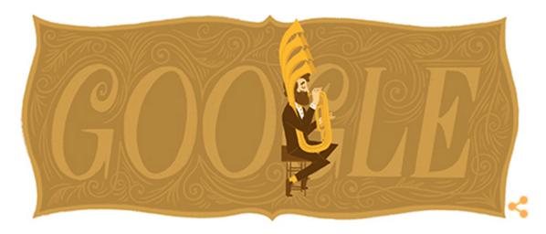 Googleロゴ「Adolphe Sax(アドルフ・サックス)」に