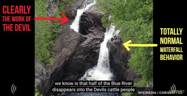 【動画】「デビルズ・ケトル」滝壺に流れ落ちた水はどこに流れていくのか?ミネソタ不思議な滝壺