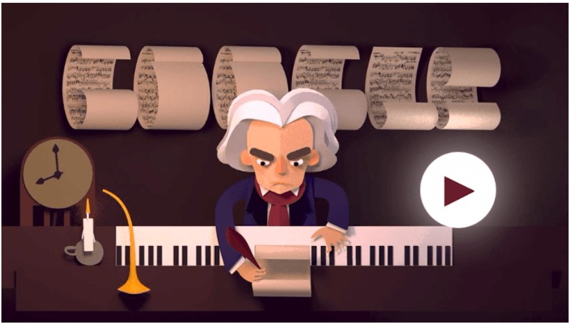 Googleロゴ「ベートーヴェン」に