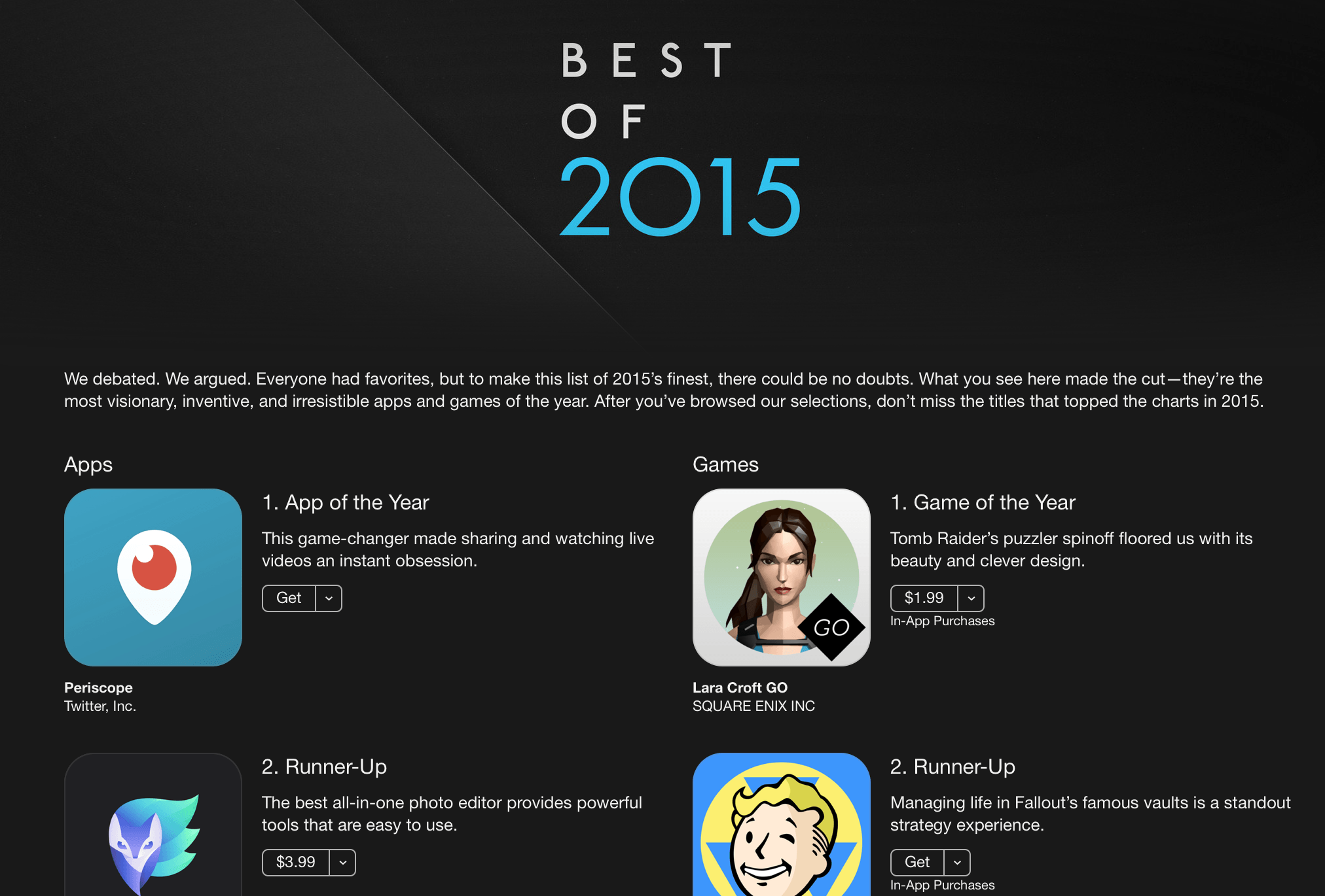 【Periscope】App Storeが選ぶ2015年の「App of the Year」に!