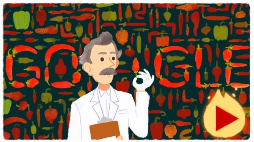 Googleロゴ、辛さを示す単位スコヴィル値を考案した「ウィルバー スコヴィル」に(ゲームあり)