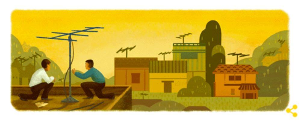 Googleロゴ「八木アンテナ」に