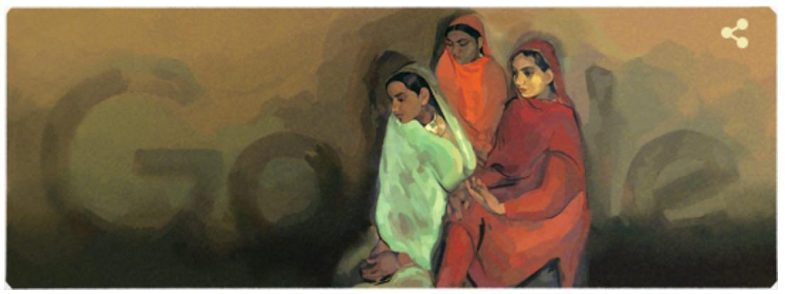 Googleロゴ「アムリタ シェール ギル」に(インドの女流画家)