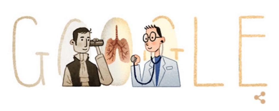Googleロゴ「ルネ ラエンネック」に(聴診器を発明した医師)