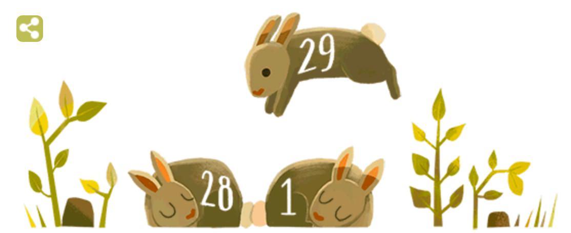 Googleロゴ「うるう年」に(なぜロゴがうさぎに?)