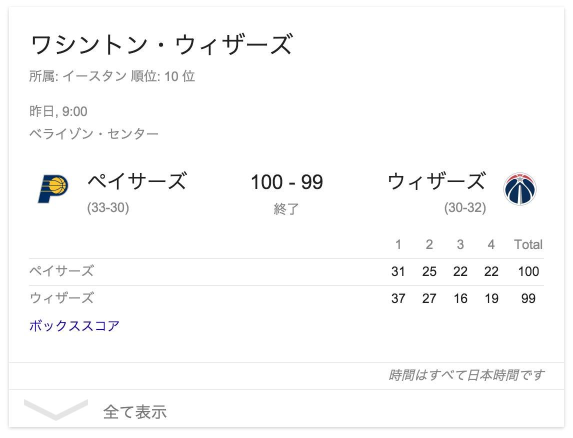 【Google】NBAチーム名で検索すると試合結果・日程を表示
