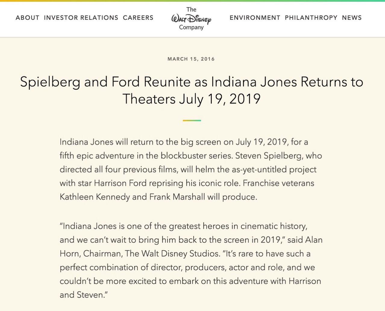 「インディ・ジョーンズ」最新作を2019年7月19日に公開へ → 主演はハリソン・フォード