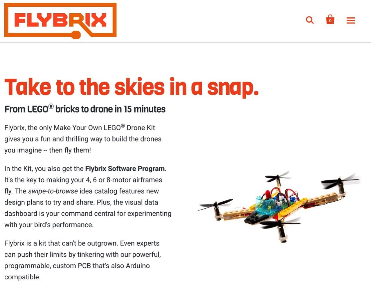 LEGOをドローンにして飛ばすことができるキット「Flybrix」189ドル