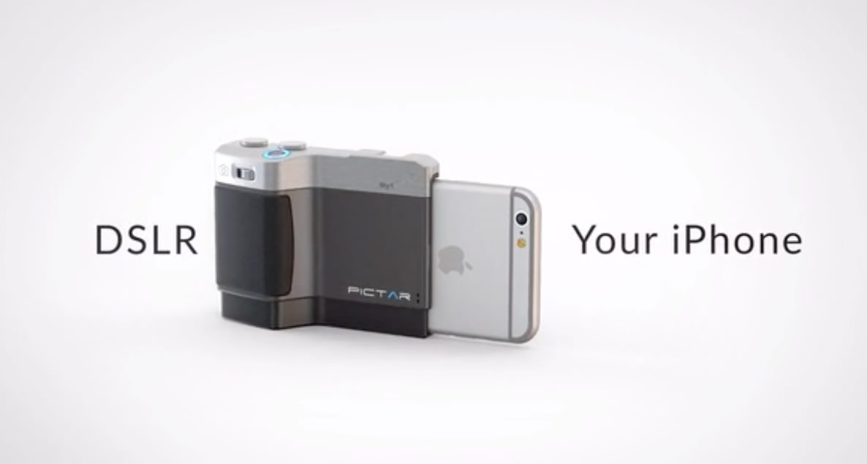 3つのダイヤルでiPhoneを一眼レフのように操作し写真が撮れるグリップ「PICTAR」