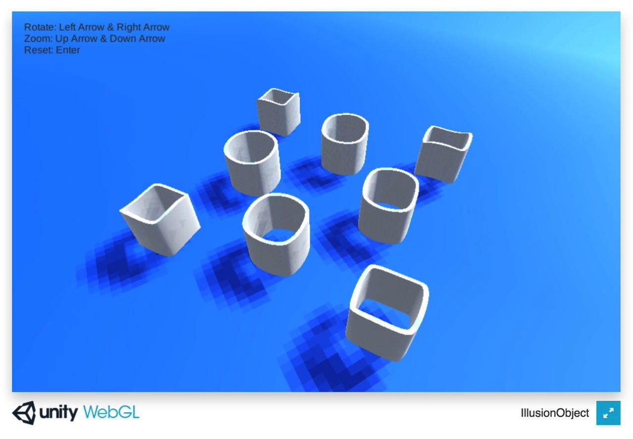 鏡に写すと全く別物になる立体錯視の3Dモデルを自分でグリグリして理解できるサイト