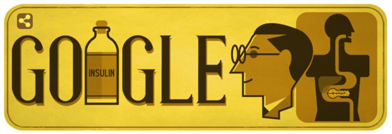 Googleロゴ「フレデリック バンティング」に(カナダの医師、医学者)