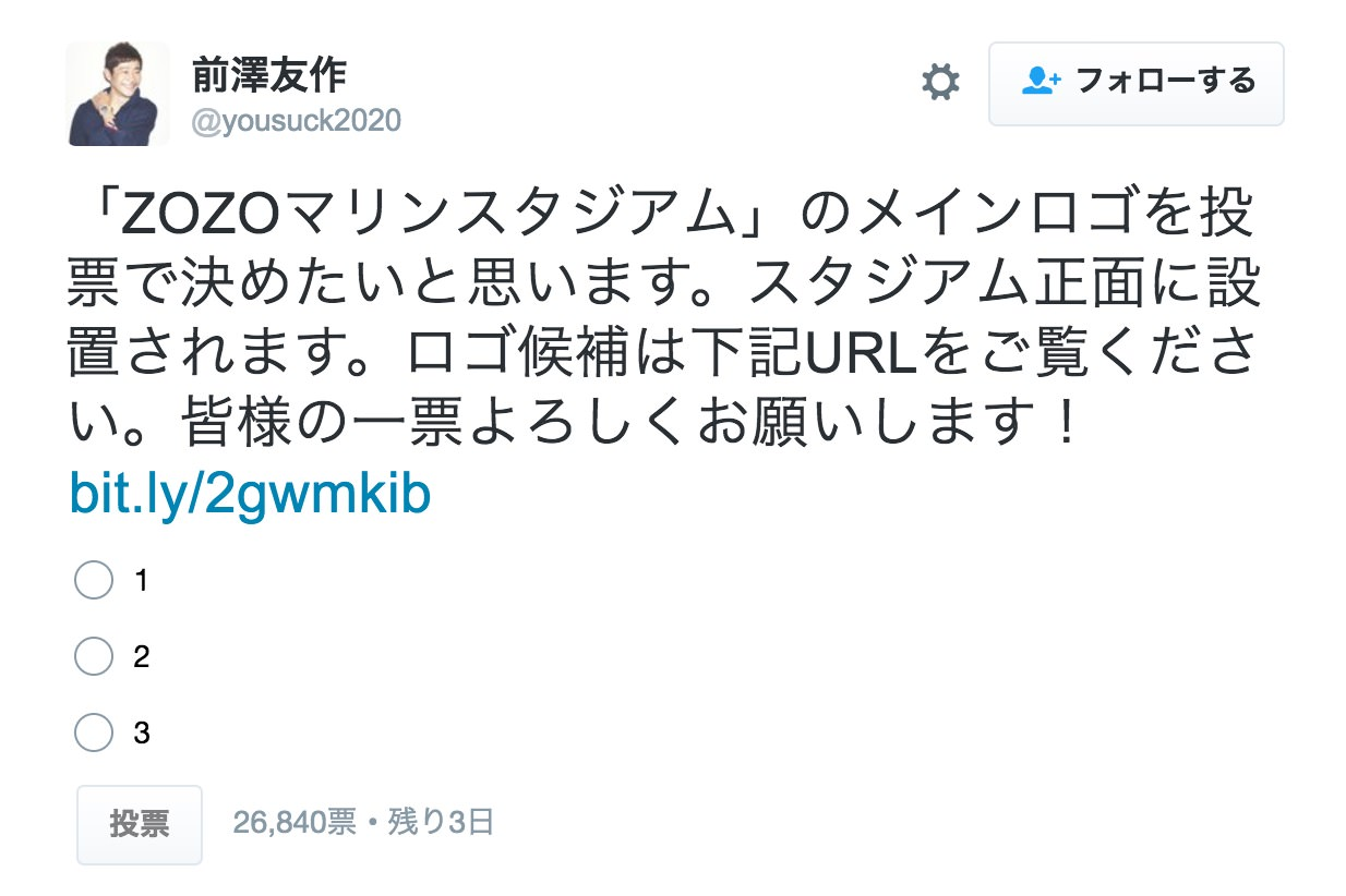 ZOZO前澤社長「ZOZOマリンスタジアム」のロゴをTwitterの投票で決定へ