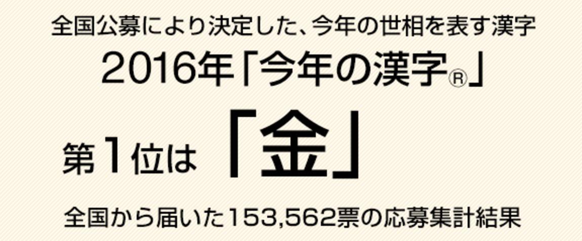 今年の漢字は「金」(2016年)