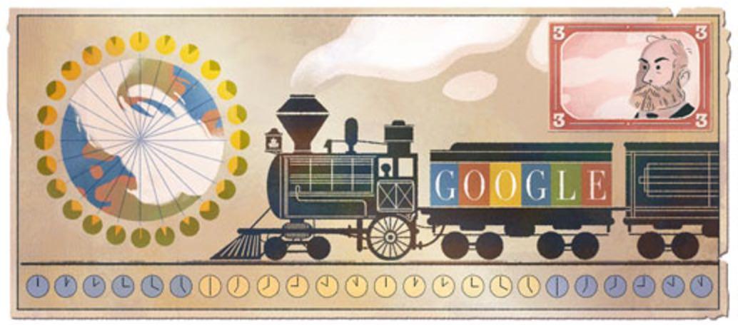 Googleロゴ「サンドフォード フレミング 標準時」に