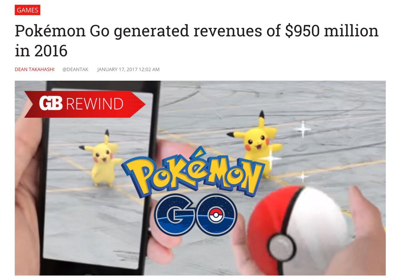 【ポケモンGO】2016年に約1,000億円を生み出す