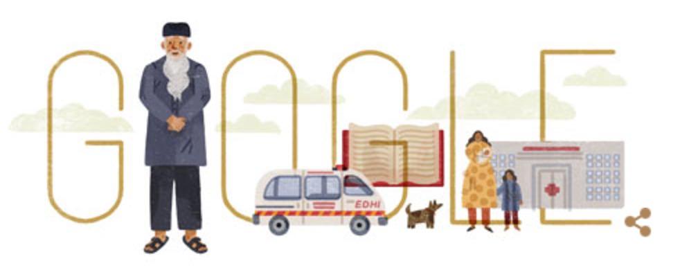 Googleロゴ「アブドゥル・サッタル・イーディ」に(パキスタンの慈善家)