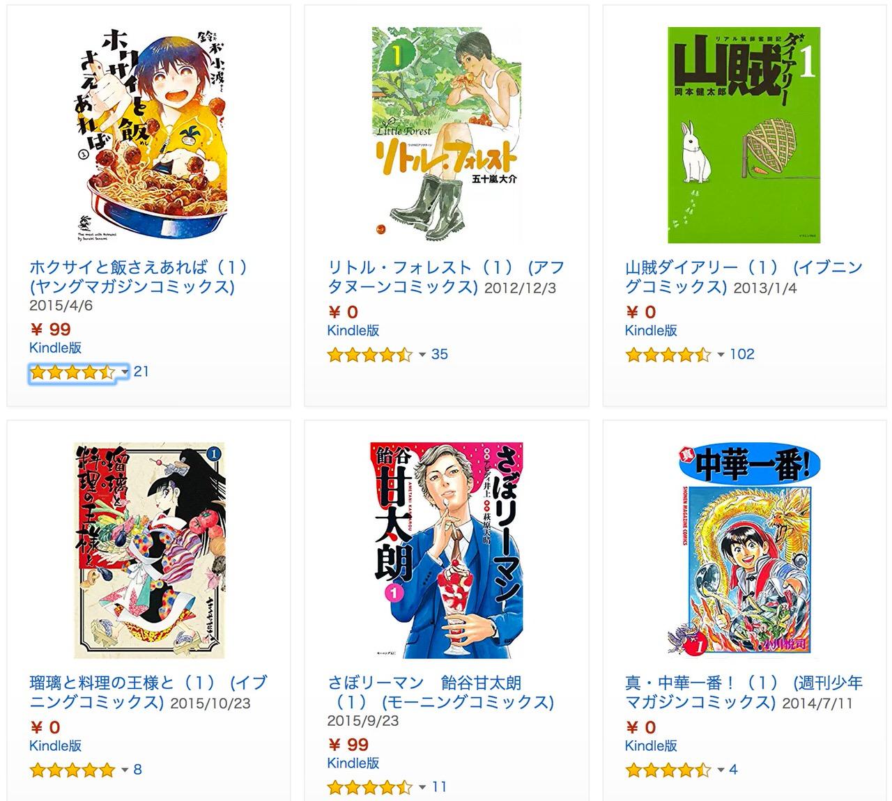 【Kindle】期間限定無料多数!食べ物&料理マンガ特集(〜3月9日)