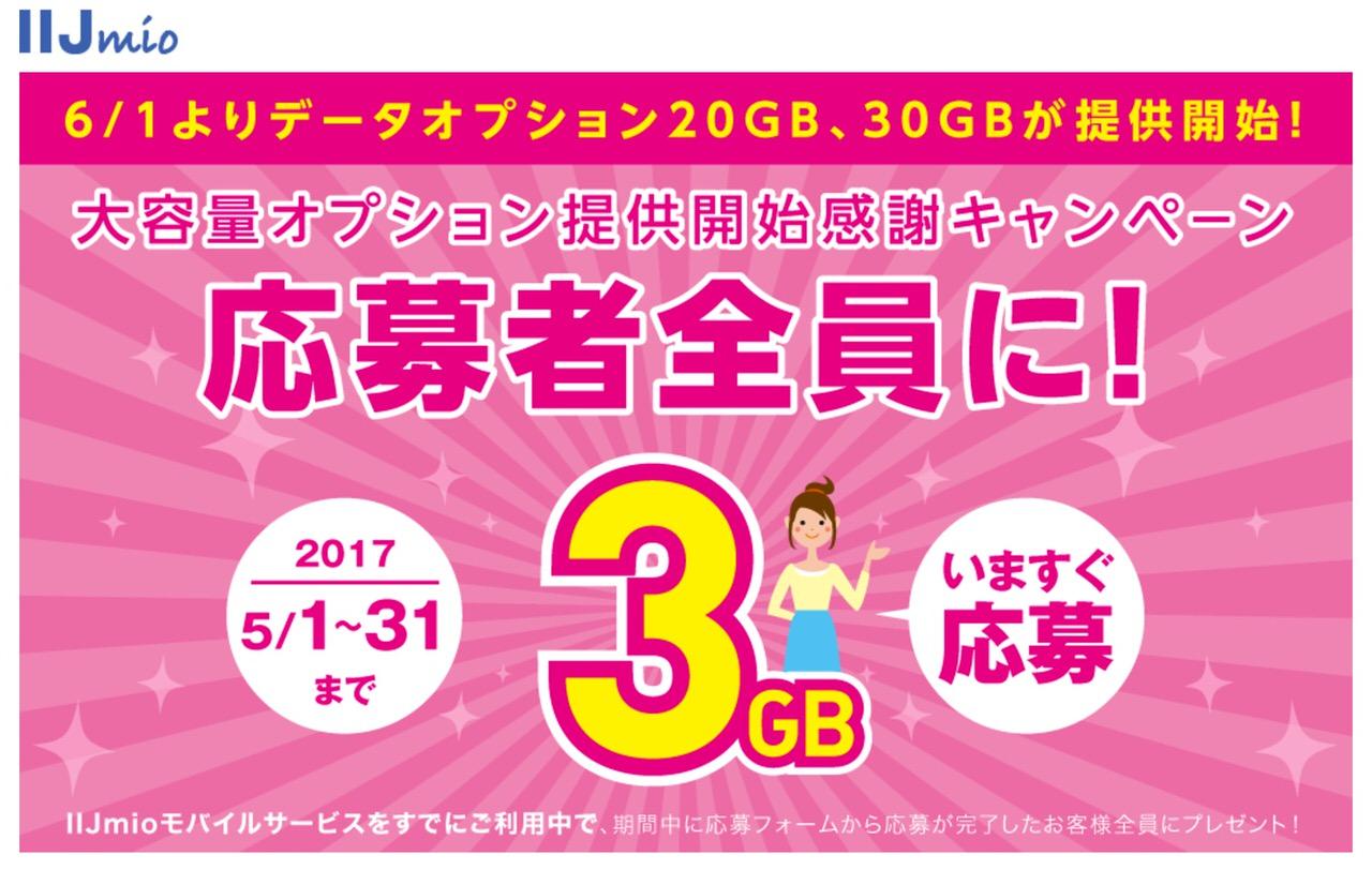 【IIJmio】「データオプション(20GB/30GB)」提供開始へ