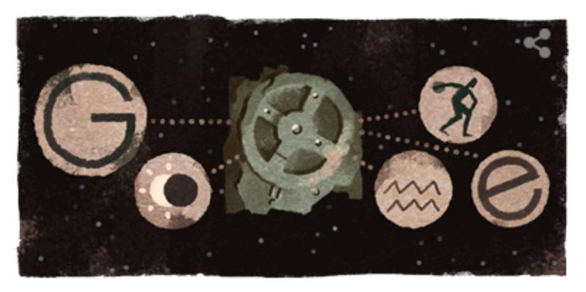 Googleロゴ「アンティキティラ島の機械」に(古代ギリシアの歯車式機械)