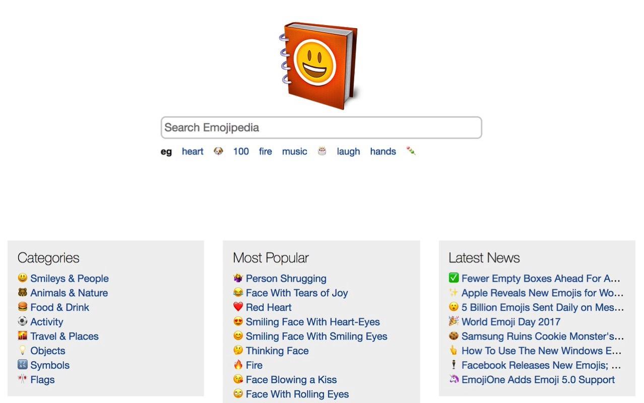 絵文字を検索してコピペも可能なEmoji辞典「Emojipedia」
