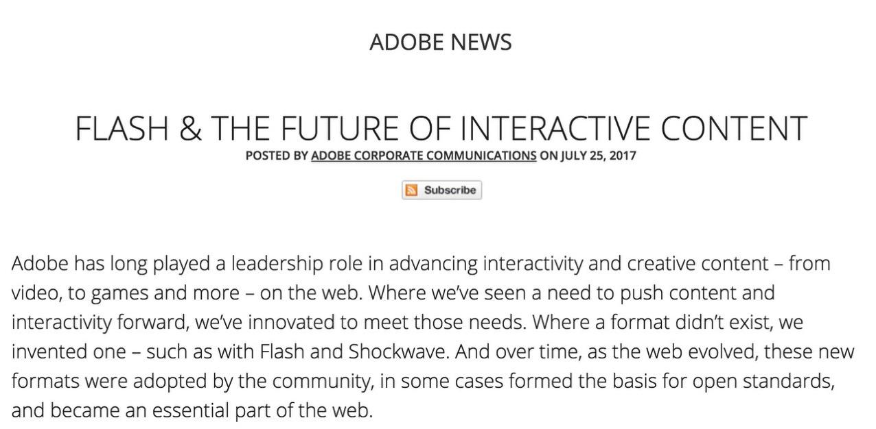 Adobe、Flashを2020年に廃止することを発表