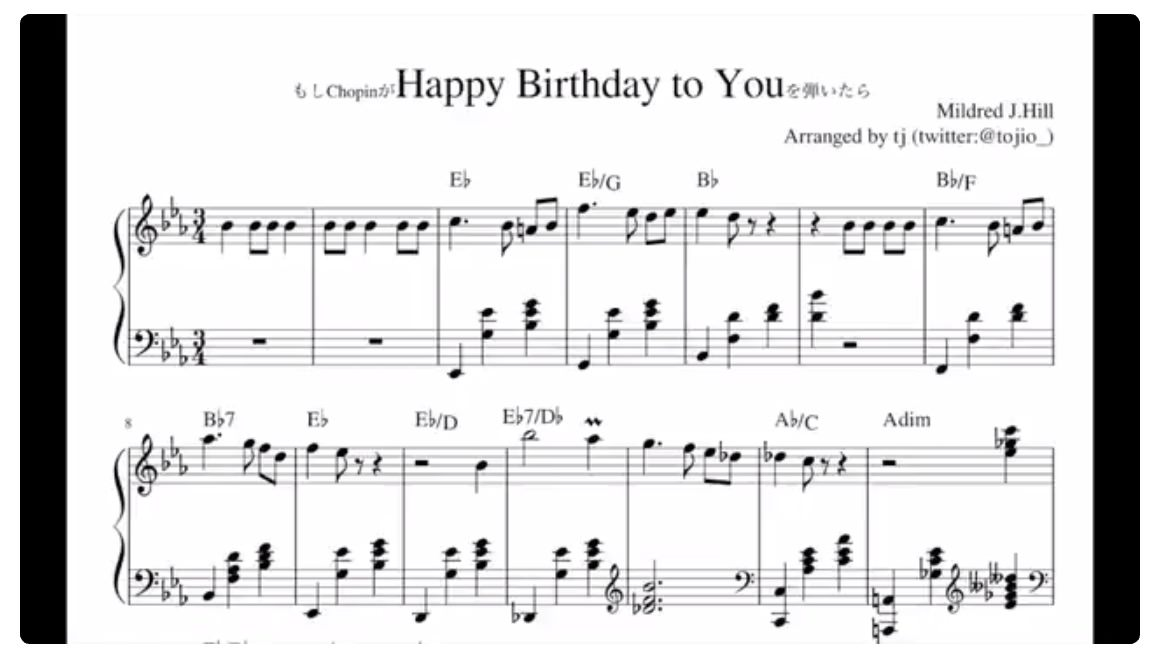 【動画】「もしショパンがHappy Birthday to Youを弾いたら」の完成度が素晴らしい‥‥これはありそう!