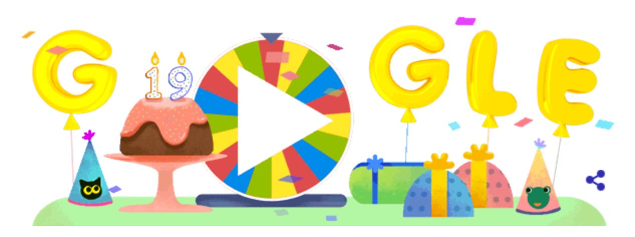 Googleロゴ、19周年を記念し「google birthday surprise spinner」に