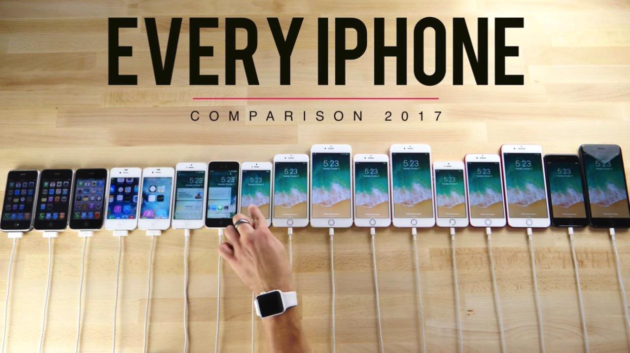 初代からiPhone 8 PlusまでiPhoneを比較した動画