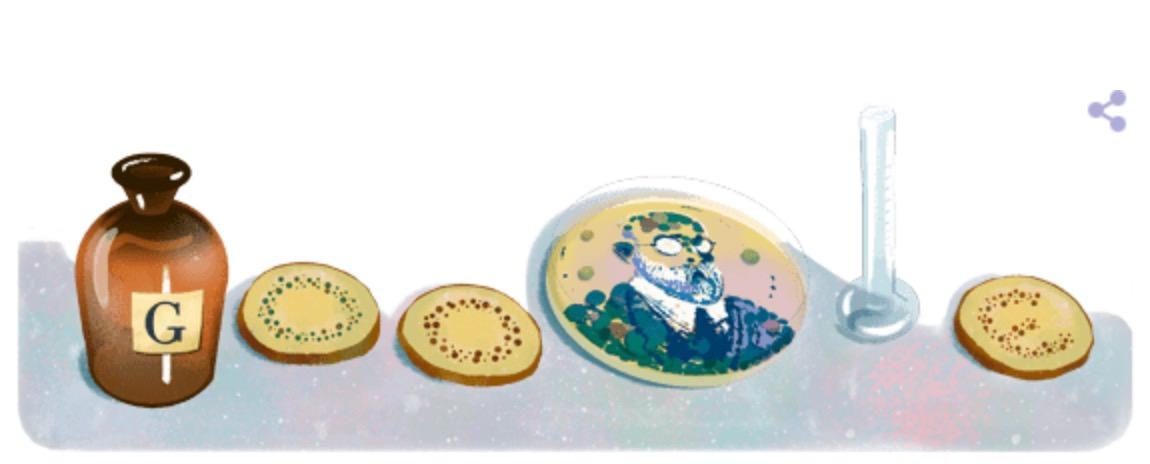 Googleロゴ「ロベルト コッホ」に(ドイツの医師、細菌学者)